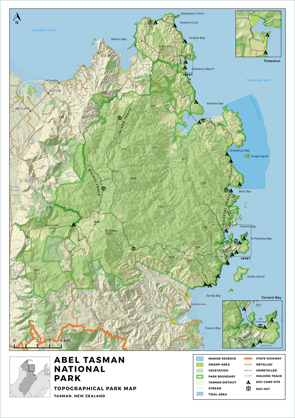 Abel-Tasman-Map-Topographical-Park-Map