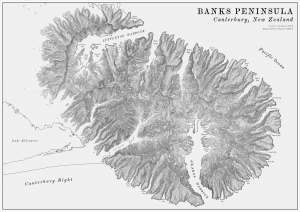 Banks Peninsula Vintage Terrain Map