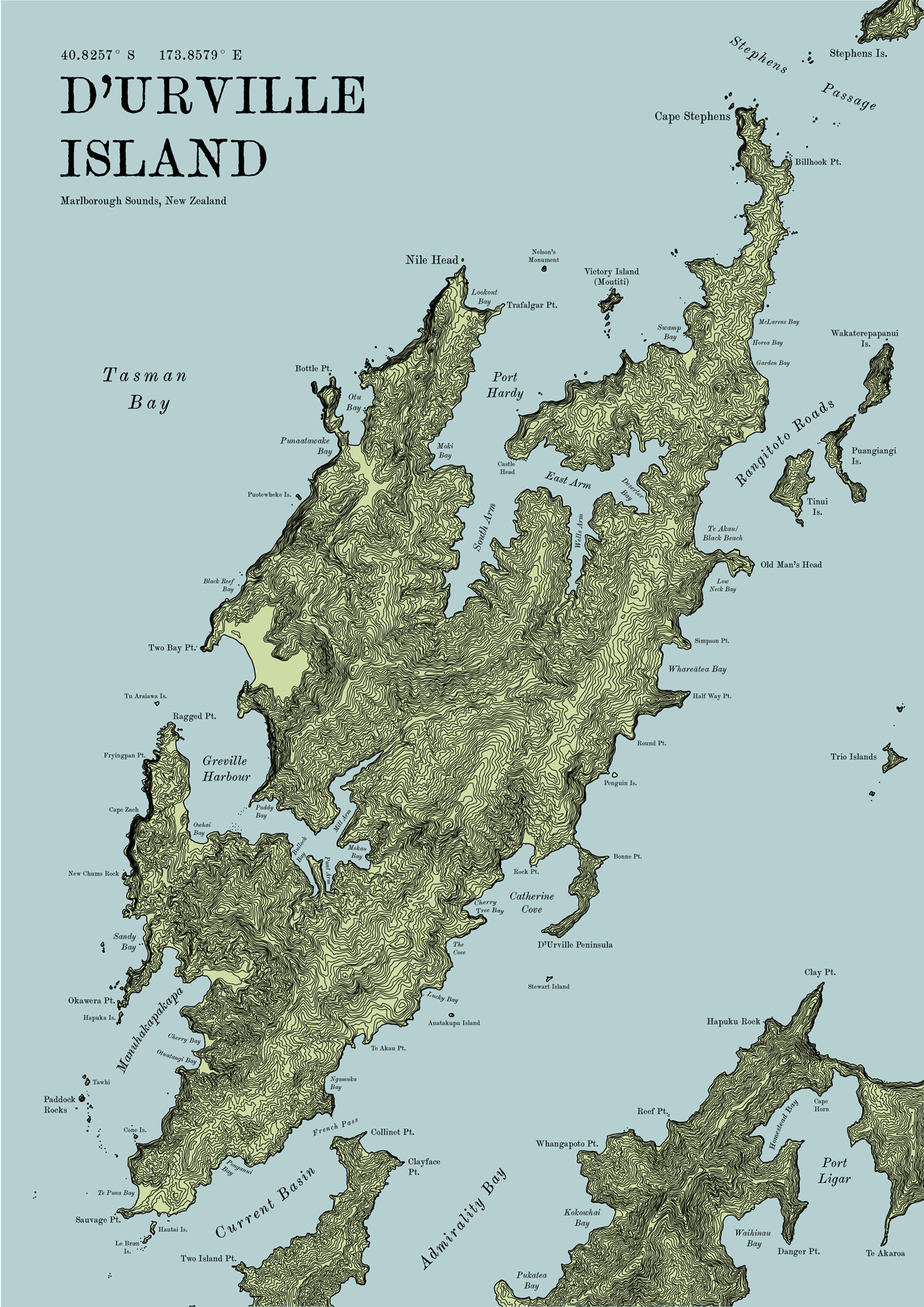 D Urville Island Terrain Map The Map Kiwi