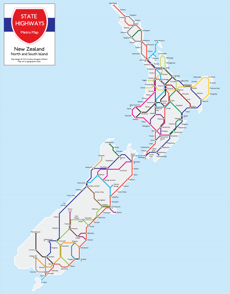 New Zealand Driving Map.The Map Kiwi Store New Zealand Maps By Andrew Douglas Clifford