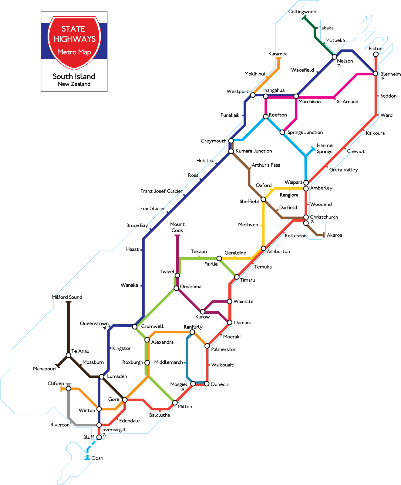 New Zealand Highway Map.New Zealand Metro Map T Shirt
