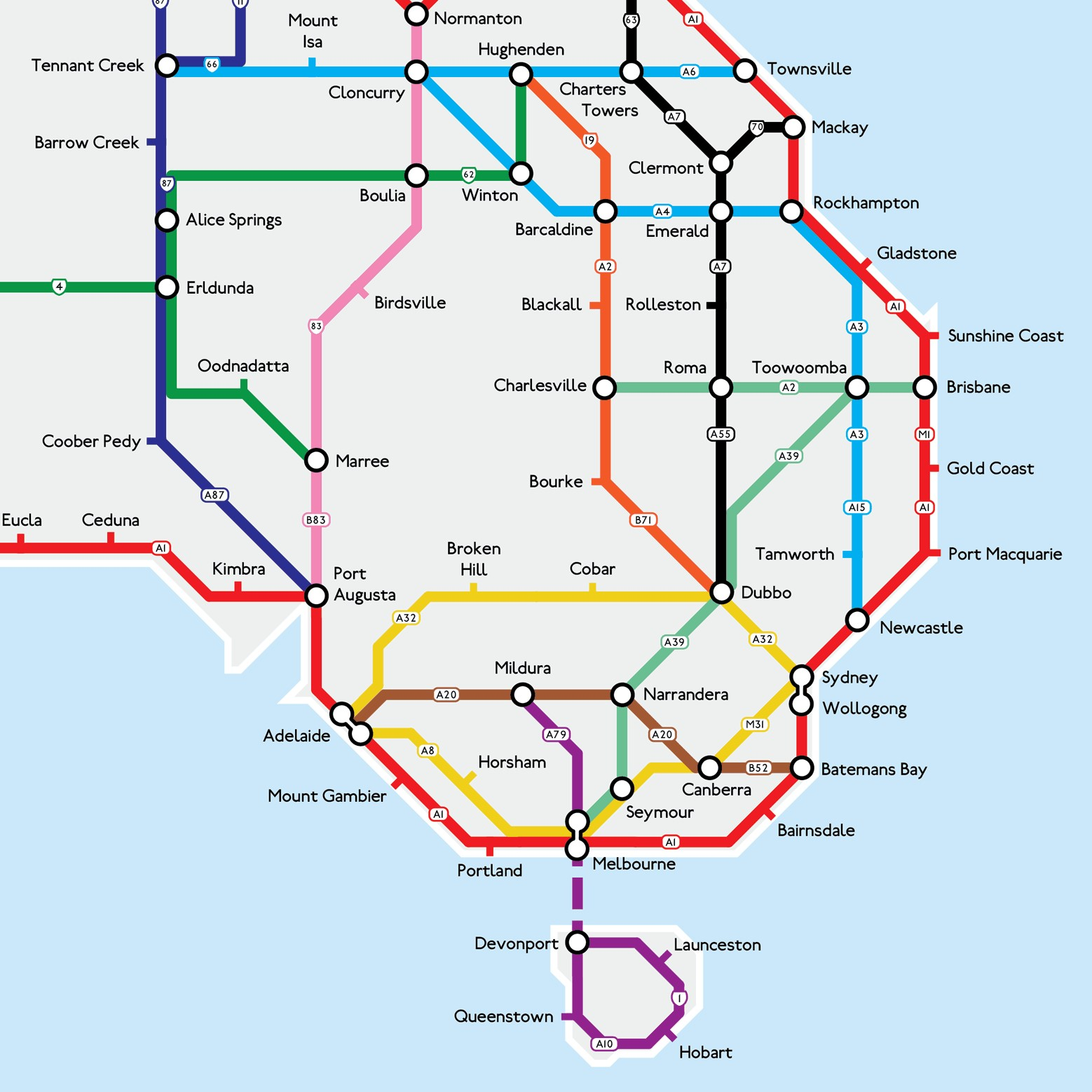 Highways of Australia Metro Map