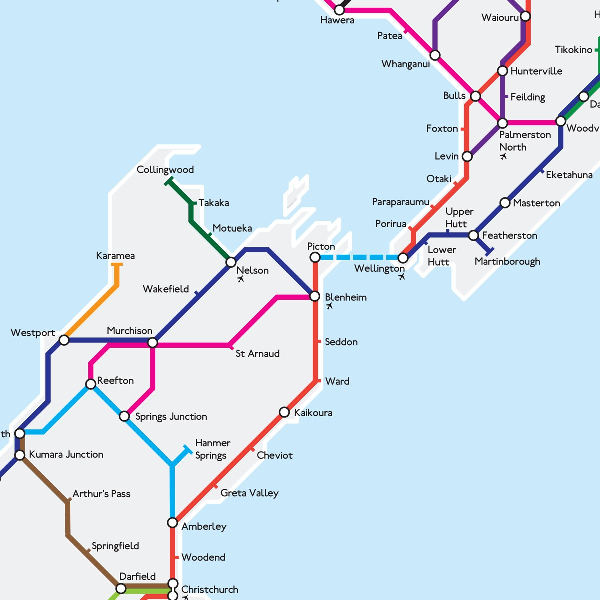 Where Is Christchurch New Zealand On The Map.New Zealand State Highways Metro Map The Map Kiwi