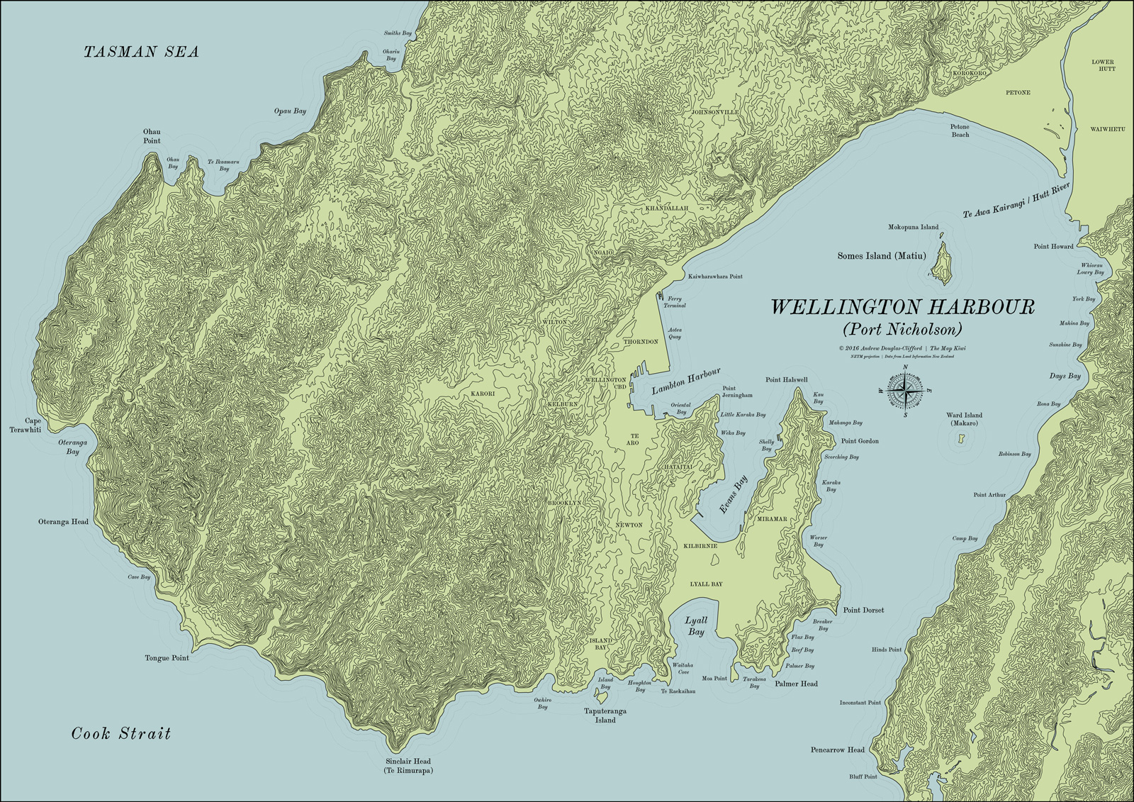 Map Of Wellington New Zealand.Wellington Harbour Map
