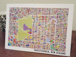 Christchurch Map Postcard (Singles)