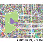 Christchurch Map Artwork Print
