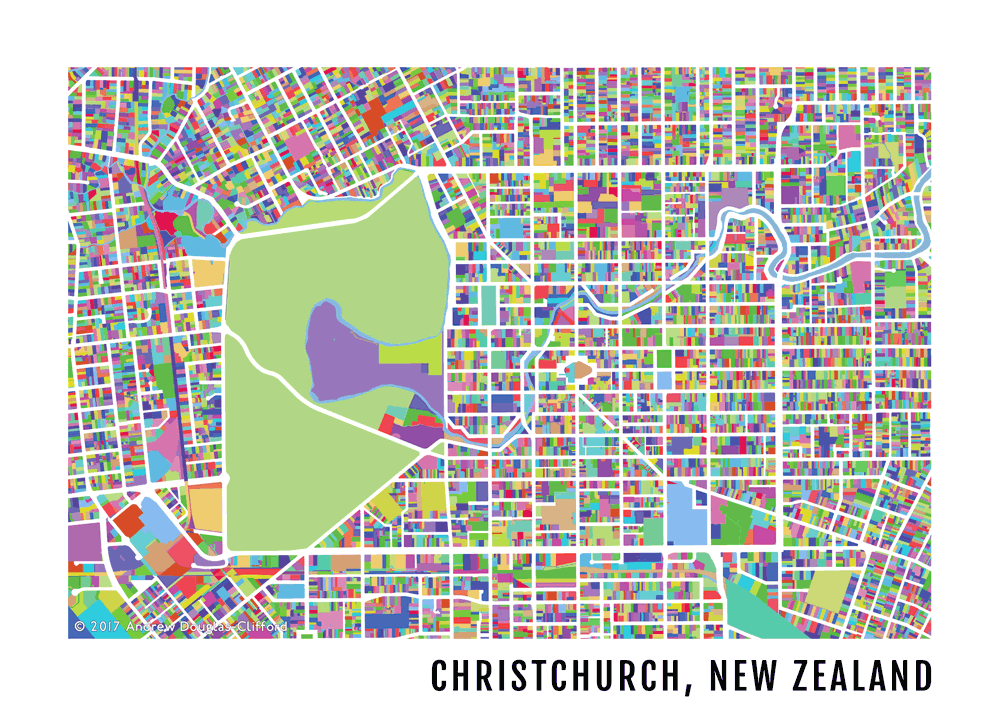 Christchurch Map Artwork Print The Map Kiwi