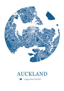 Auckland Map Dot Print