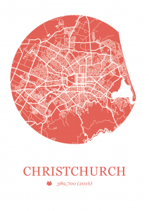 Christchurch Map Dot Print