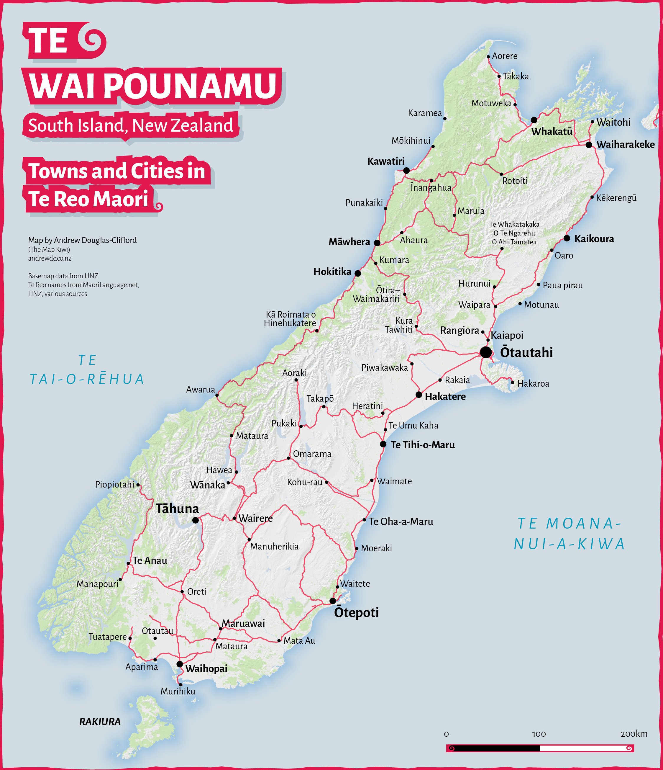 South Island Map Of New Zealand.Te Wai Pounamu Te Reo Maori Map Of South Island Towns And Cities