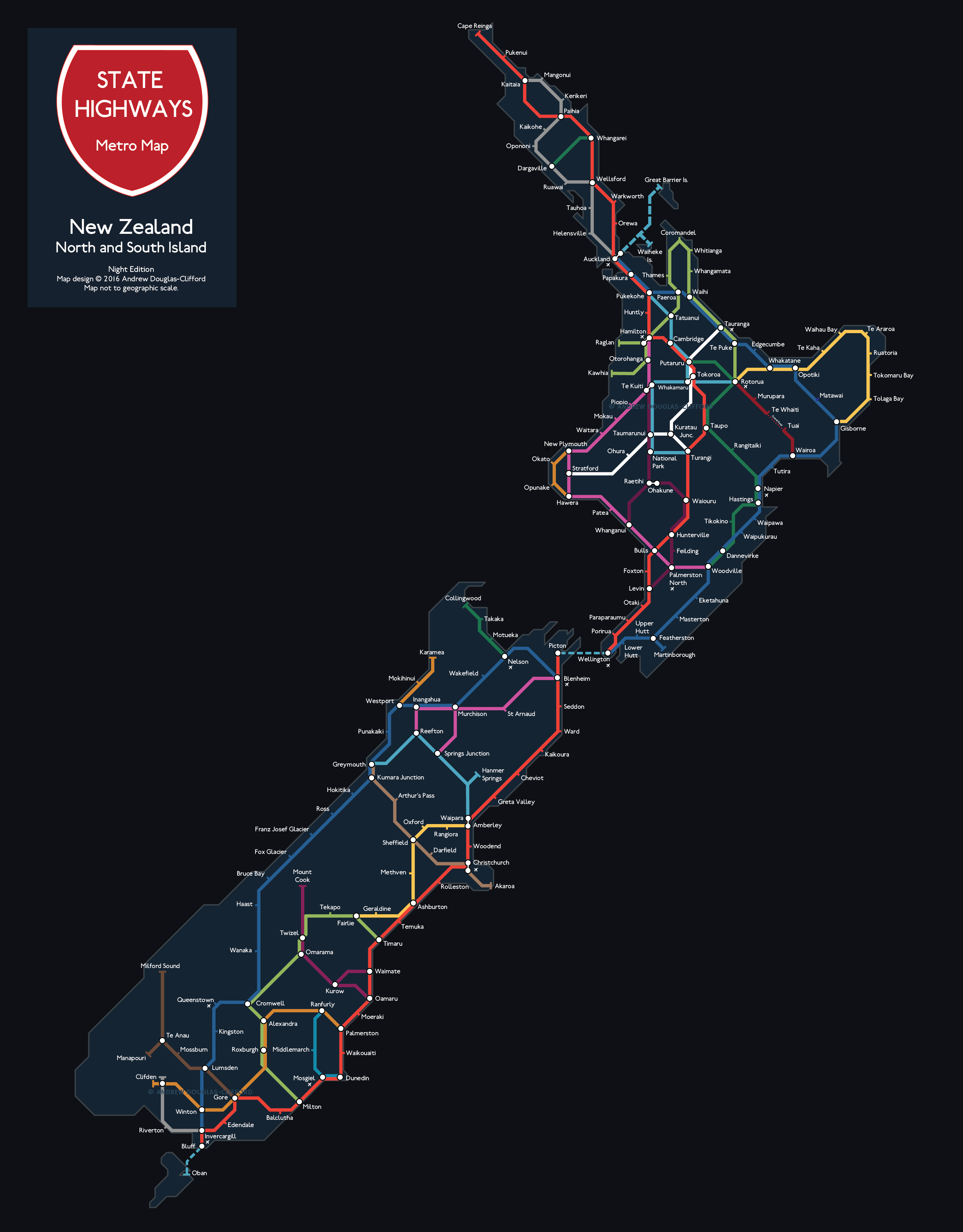 New Zealand State Highways Night Print The Map Kiwi