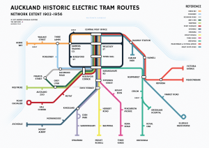 Auckland Historical Tram Routes Print