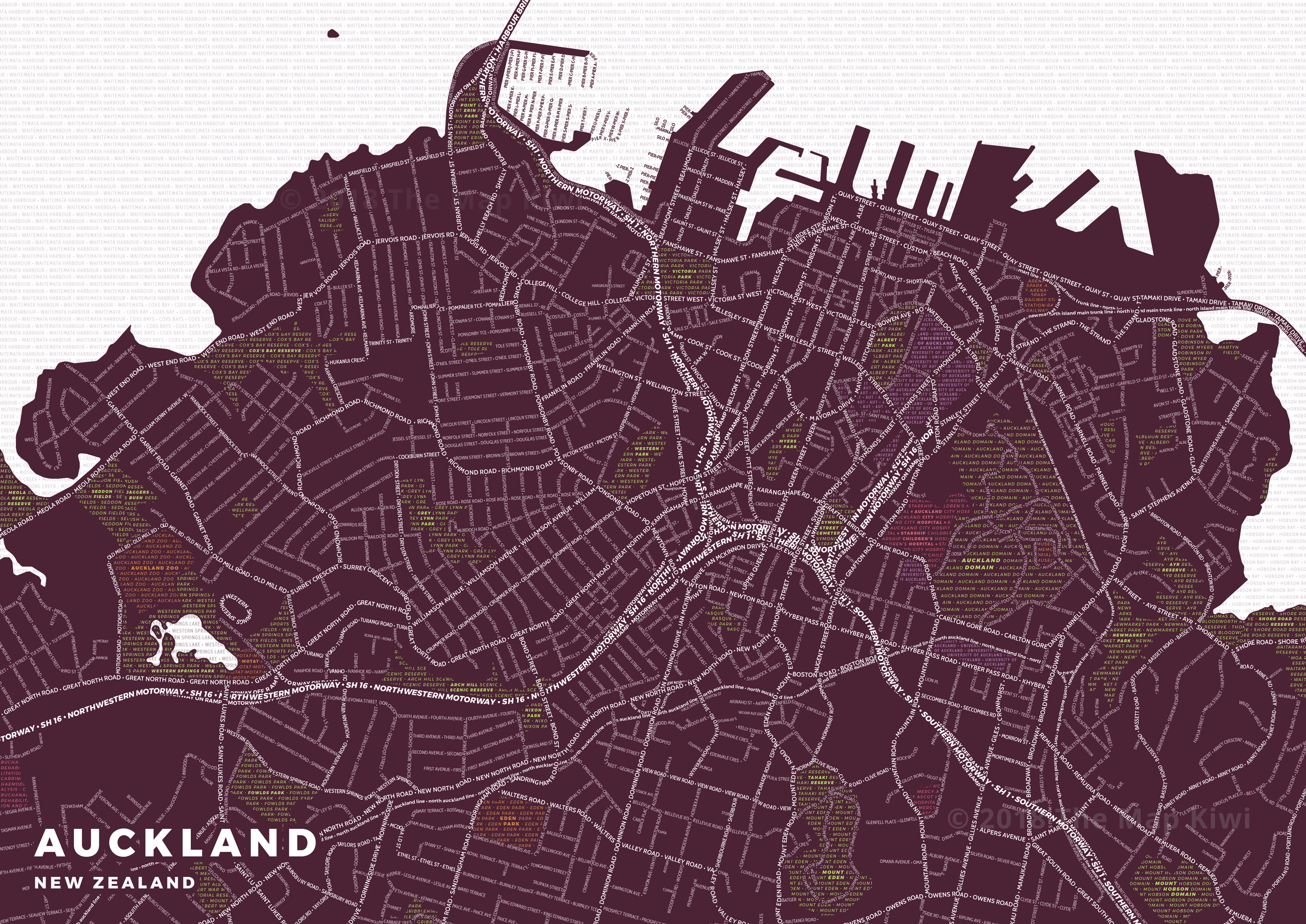 New Print: Typography Map of Auckland | The Map Kiwi on islamabad map, tasmania map, christchurch map, australia map, brisbane map, fiji map, cook strait map, southern alps map, jakarta on map, hong kong map, omc map, temuka map, north island map, sydney on map, micronesia map, wellington map, perth map, new south wales map, darwin map, melbourne map,