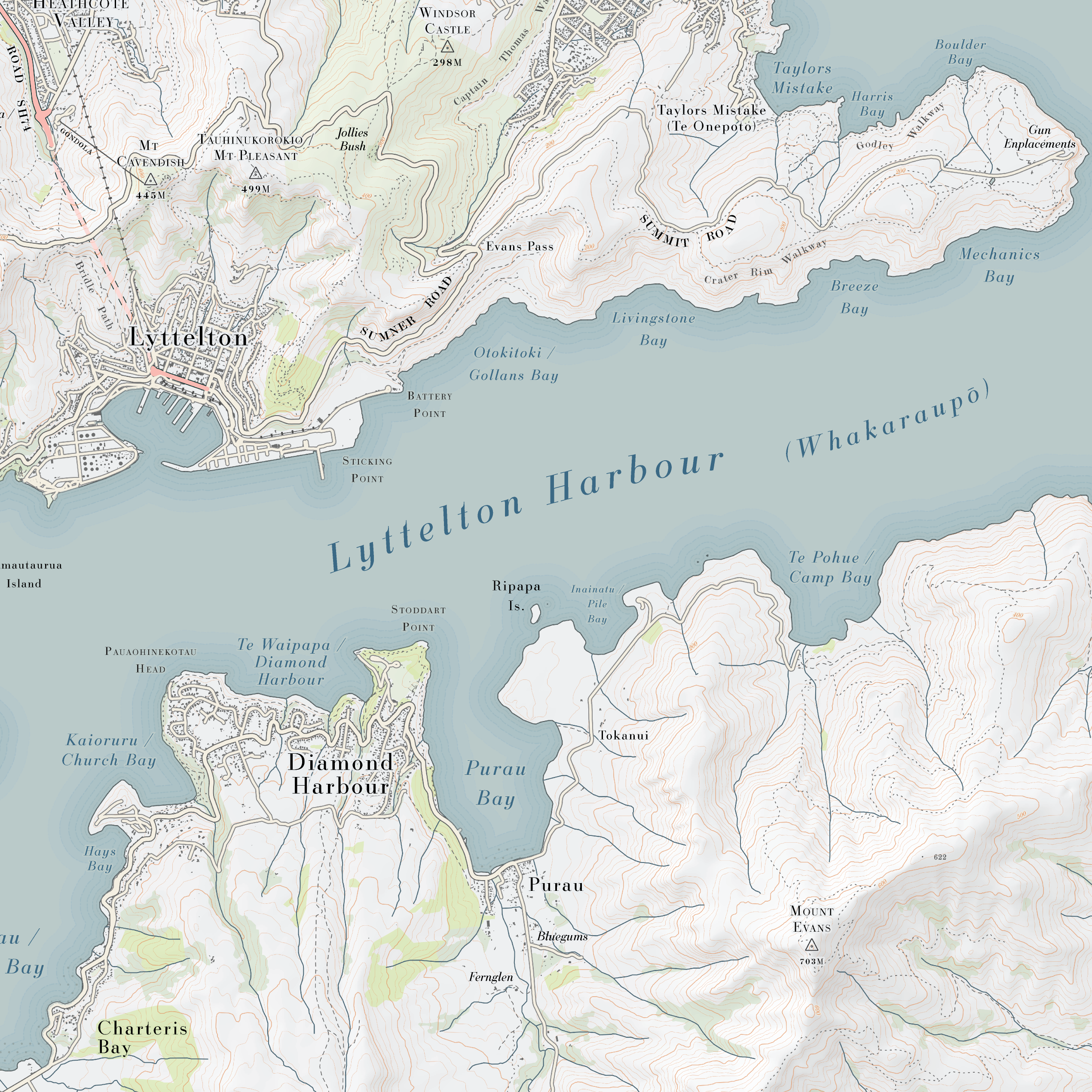 Lyttelton Harbour Topo Map