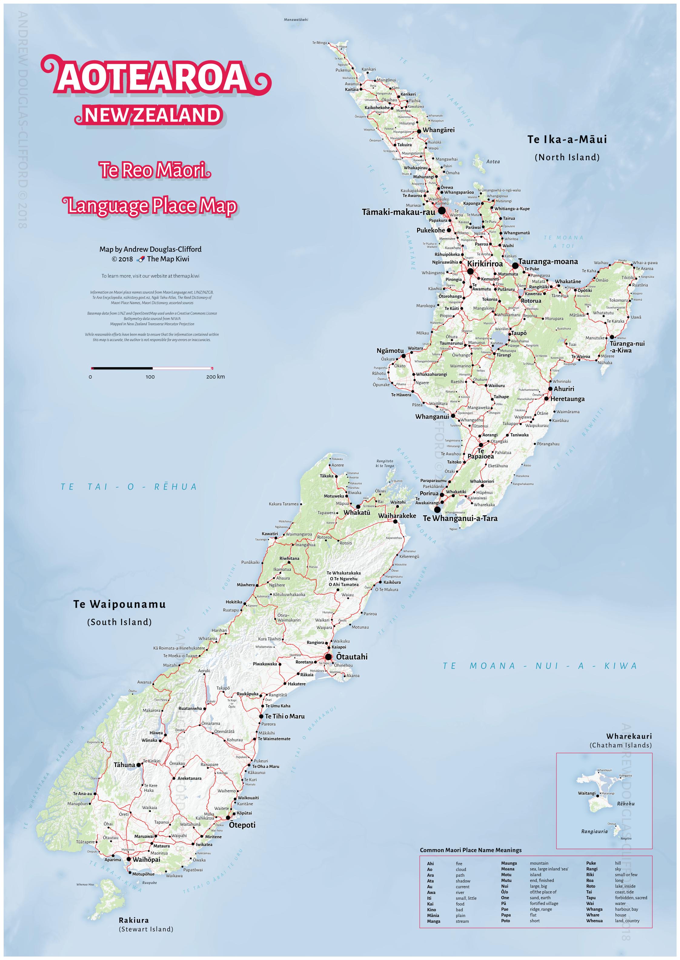Map In New Zealand.Te Reo Maori Map Of Aotearoa New Zealand Print The Map Kiwi
