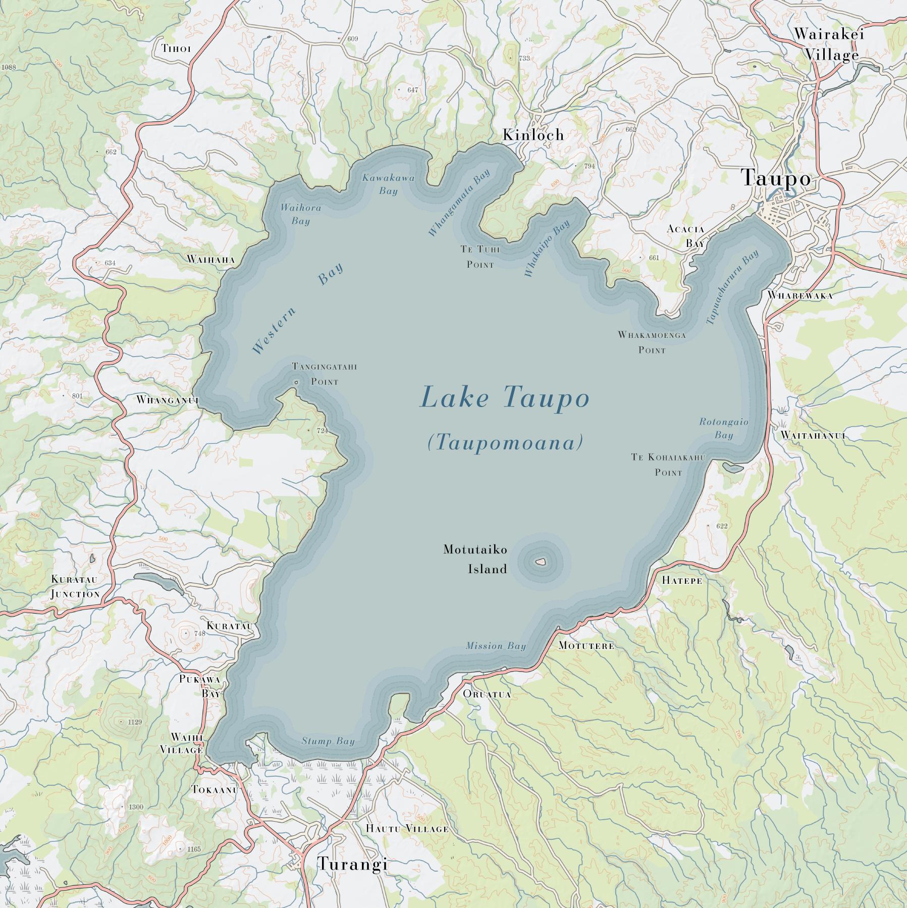 Map Of Taupo New Zealand.Lake Taupo Print The Map Kiwi