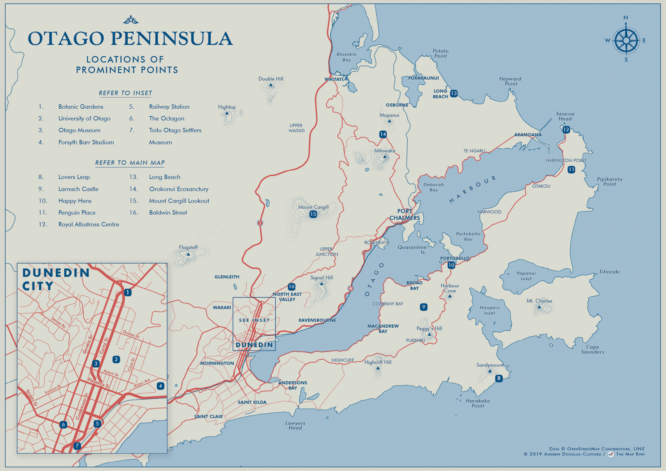 Otago Peninsula Tourist Map
