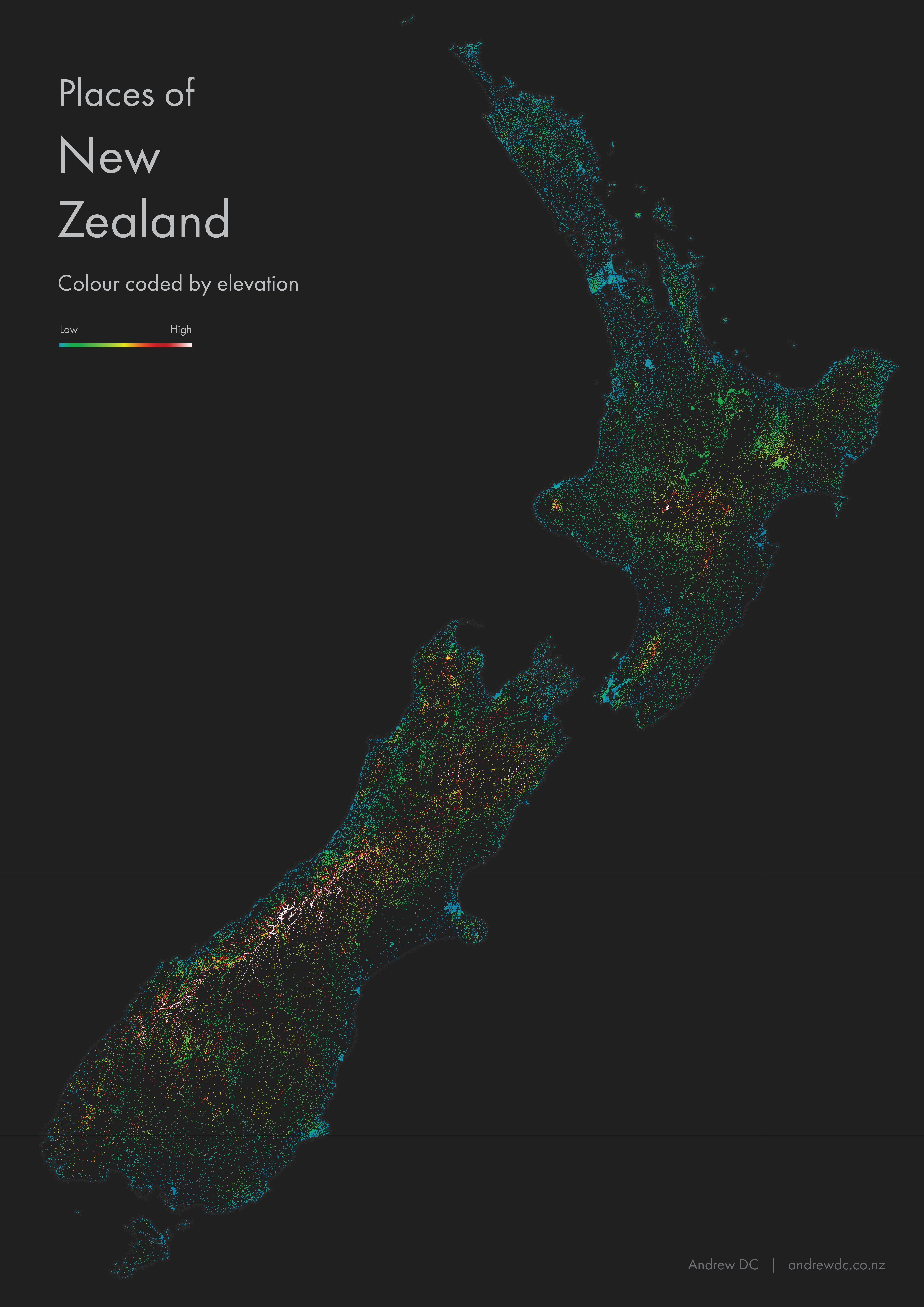 New Zealand Place Names by Elevation
