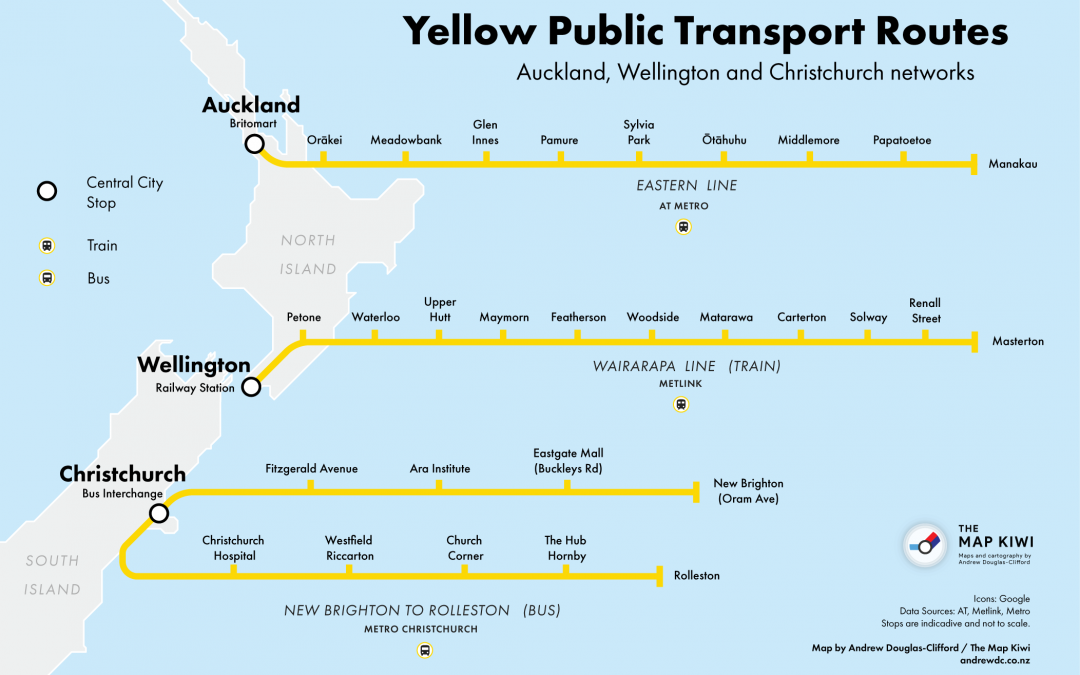 Yellow Public Transport Routes