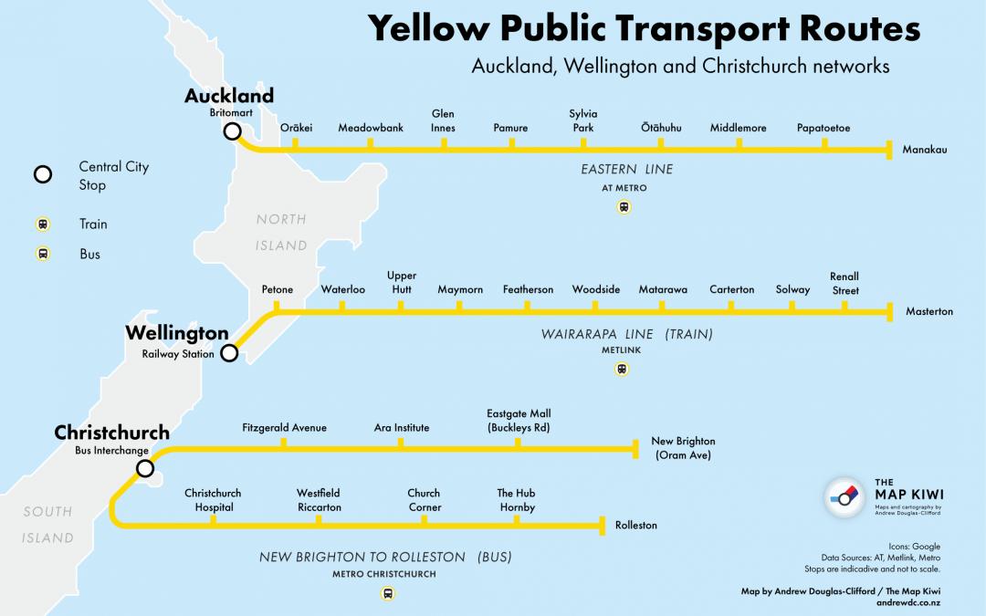Yellow Public Transport Routes
